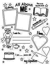 It is an image of Astounding All About Me Page Printable