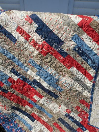 Friday Finish: Layer Cake Strip Quilt - Jo's Country Junction : how to make simple quilt - Adamdwight.com