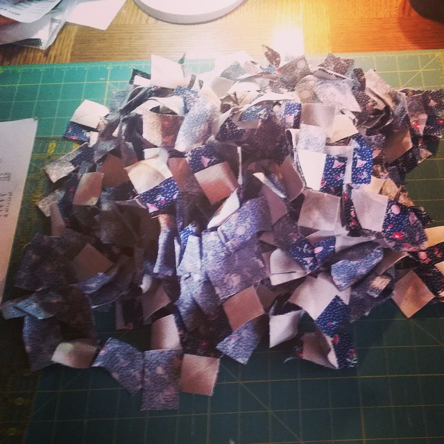 If you have ever wondered what 1024 1.25 x 2 inch rectangles with a 1.25 square flip corner looked like, here would be your answer! This quilt better be worth it! #joscountryjunction  #moda