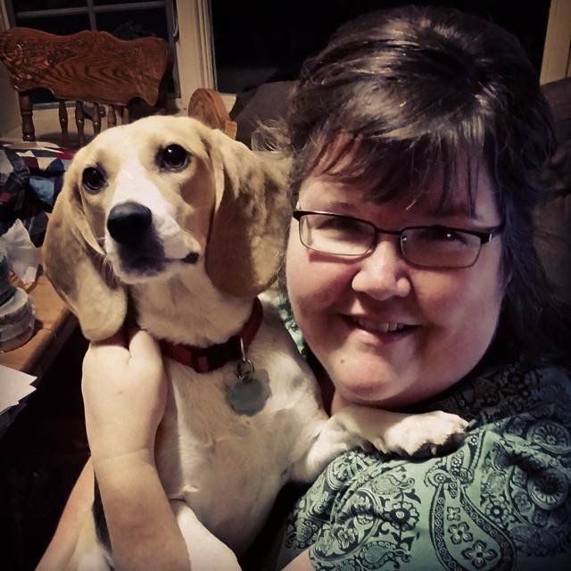 Kalissa made me take a picture with my new hair cut! I agreed but only if Ruby was in the picture! #joscountryjunction #newhaircut #beaglelove