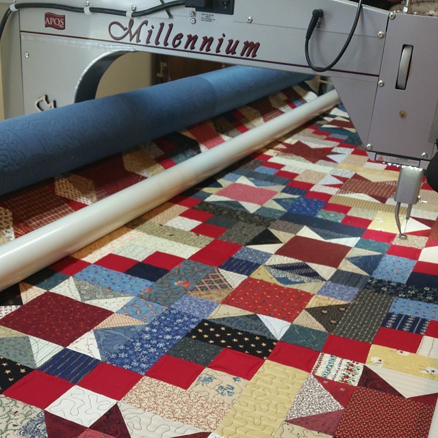 This is the clothes on my frame I'm almost done!  #joscountryjunction #longarmquilting #quilting